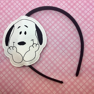 Snoopy Face Headband Embroidery Design